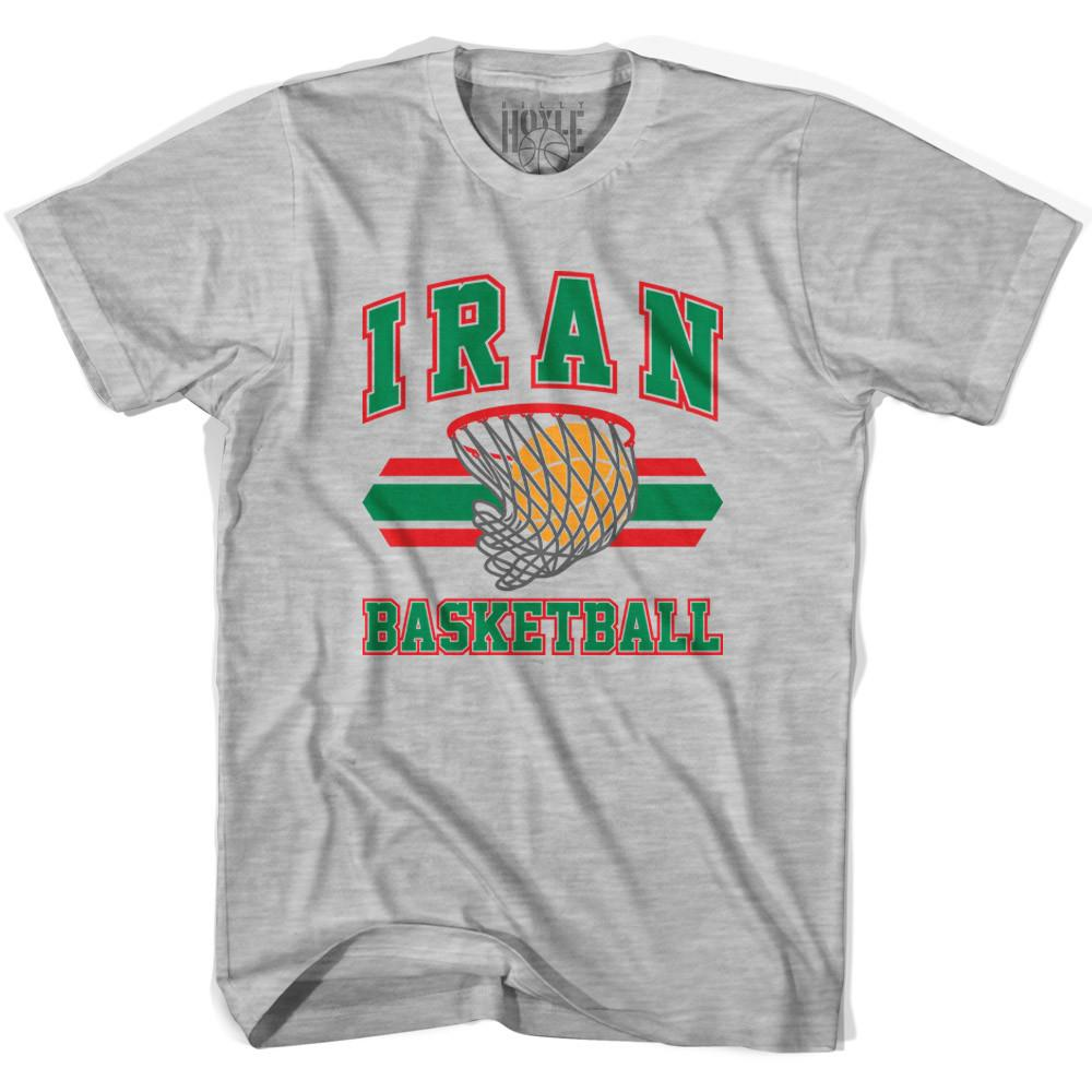 Iran 90's Basketball T-shirts in Grey Heather by Billy Hoyle
