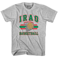 Iraq Basketball 90's Basketball T-shirt in Grey Heather by Billy Hoyle