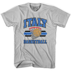 Italy 90's Basketball T-shirts in Grey Heather by Billy Hoyle