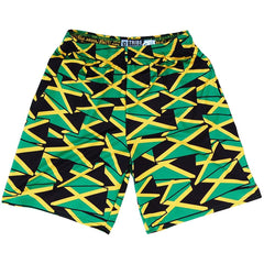Jamaica Party Flags Lacrosse Shorts in Black by Tribe Head Lacrosse
