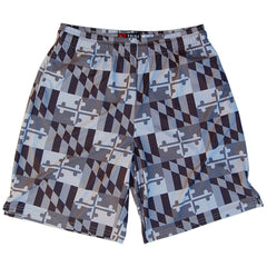 Maryland Flag Grey-Scale Lacrosse Shorts in Grey by Tribe Lacrosse