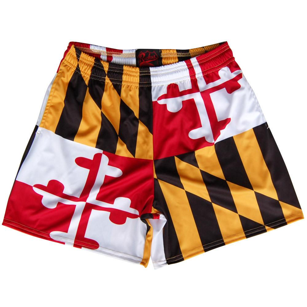 Maryland Flag Rugby Shorts in Red Yellow & Black by Ruckus Rugby