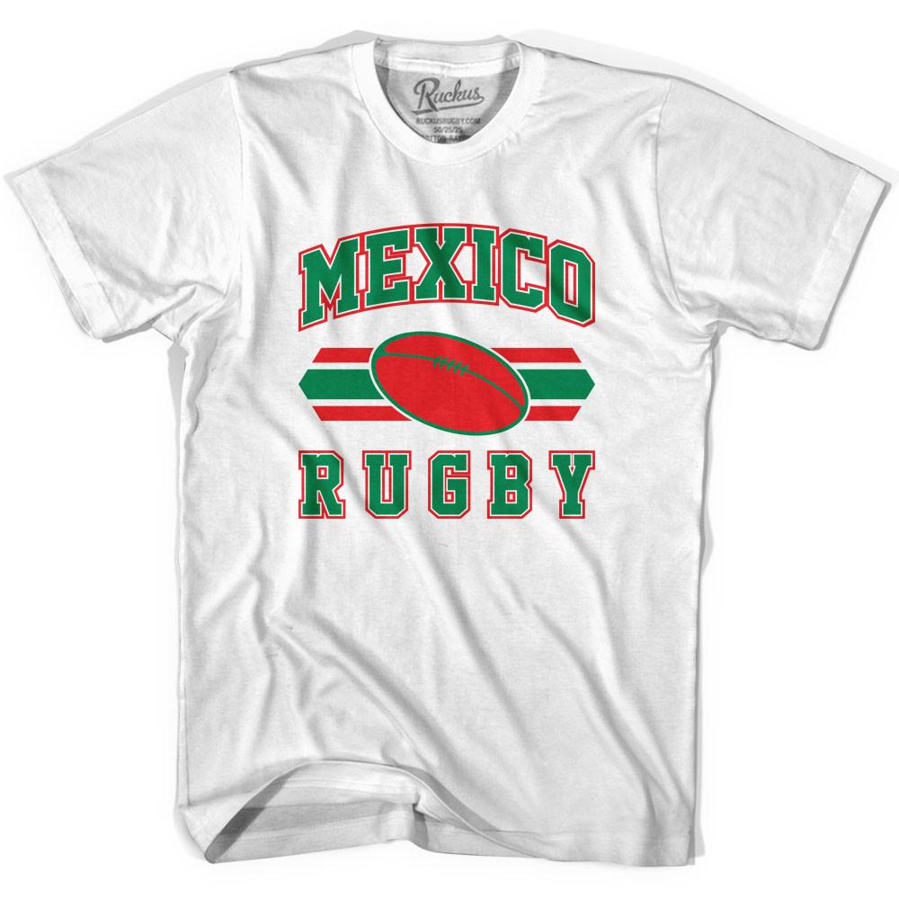 Mexico 90's Rugby Ball T-shirt in White by Ruckus Rugby