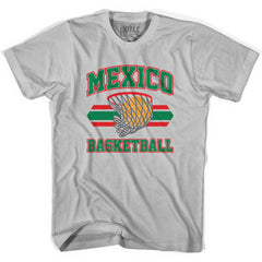 Mexico 90's Basketball T-shirts in Grey Heather by Billy Hoyle