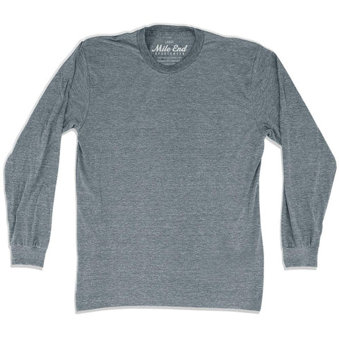 Mile End Athletic Grey Blank Long Sleeve T-shirt