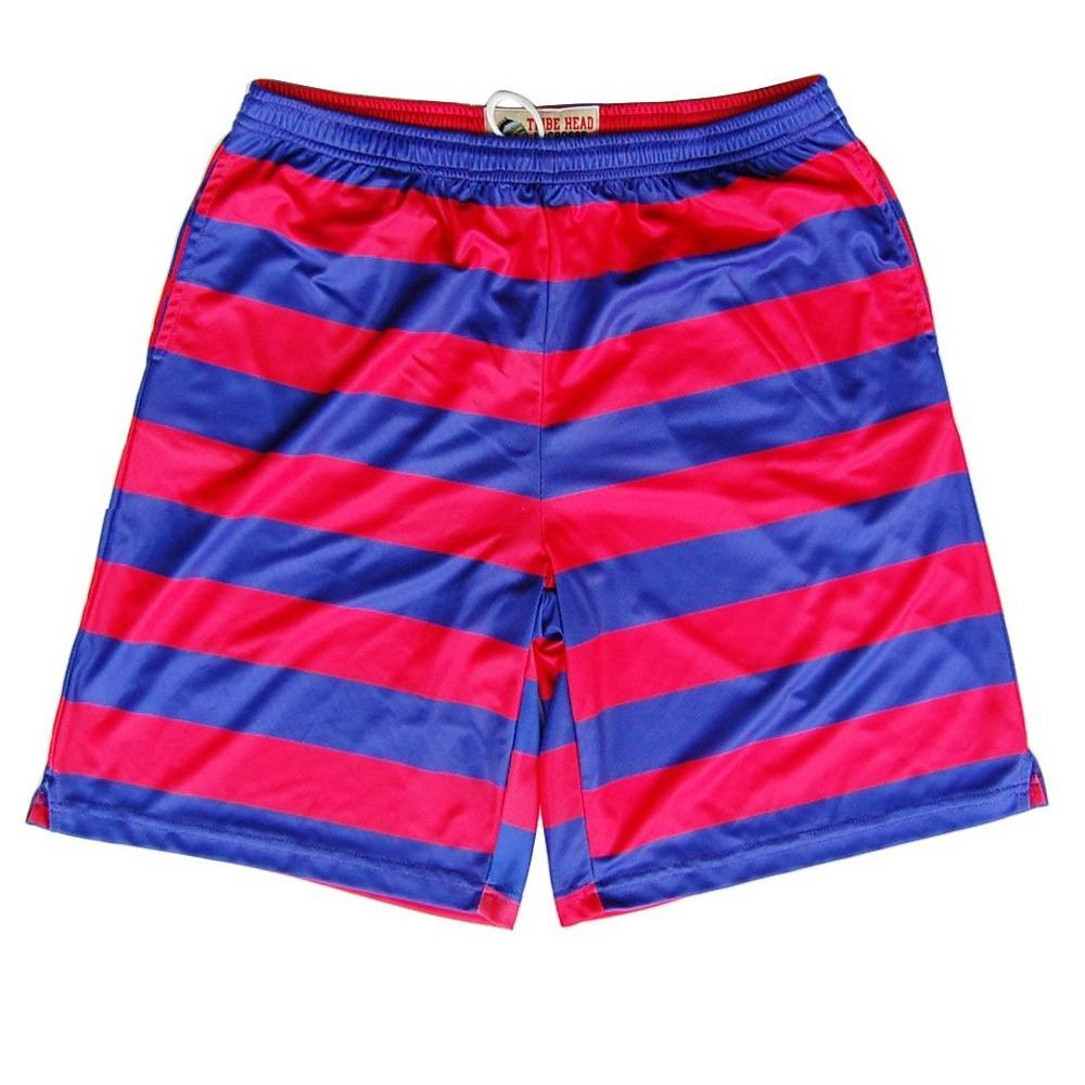 Red and Navy Striped Sublimated Shorts