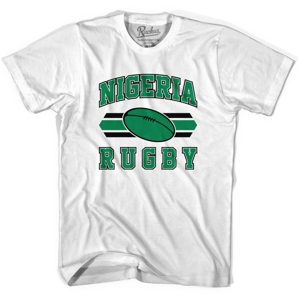 Nigeria 90's Rugby Ball T-shirt in White by Ruckus Rugby