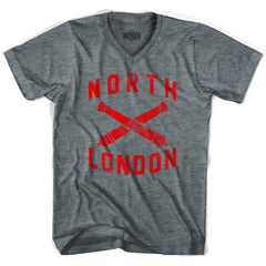 Ultras North London Crossed Cannons V-neck T-shirt in Athletic Grey by Ultras