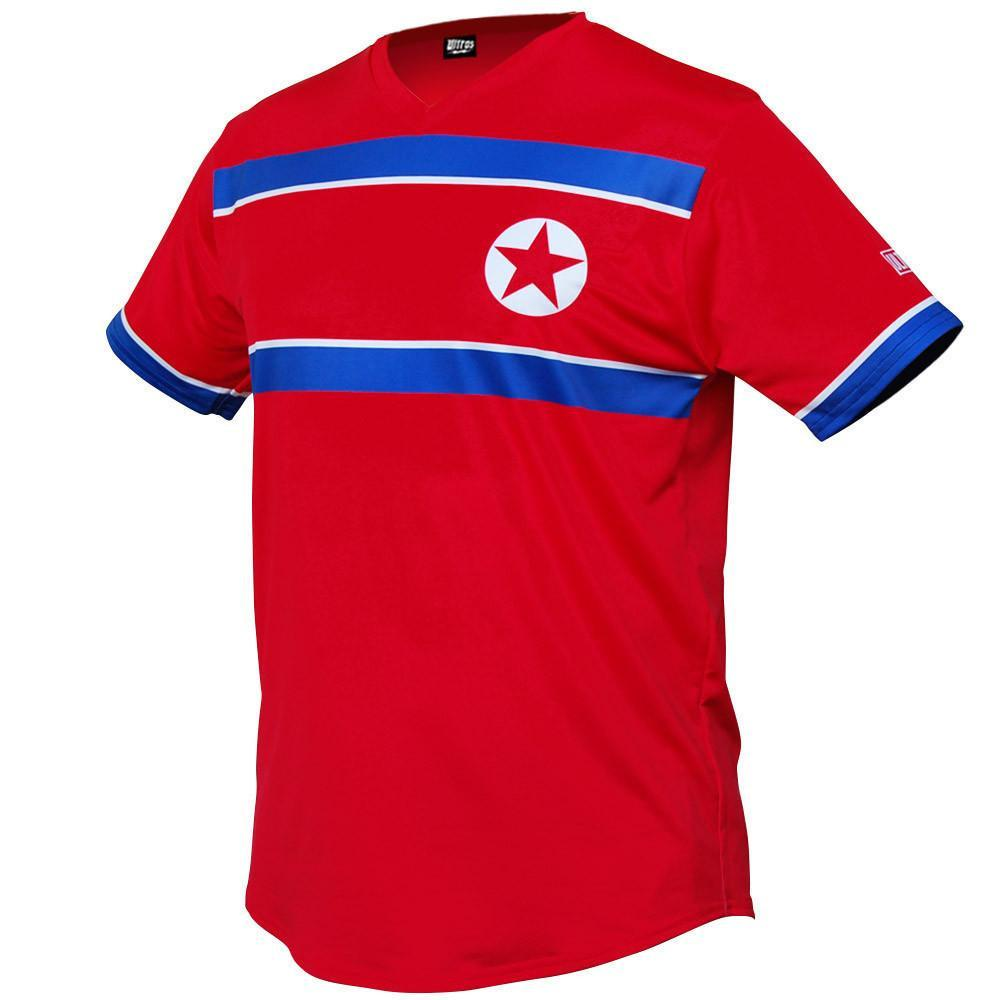 North Korea Star Soccer Jersey in Red by Ultras