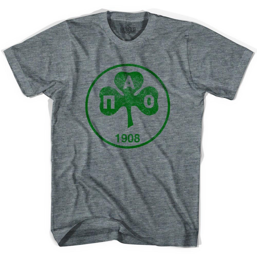 Ultras Vintage Panathinaikos Crest Ultras Soccer T-shirt in Athletic Grey by Ultras