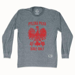 Poland Polska Pilka Soccer Long Sleeve T-shirt in Athletic Grey by Ultras