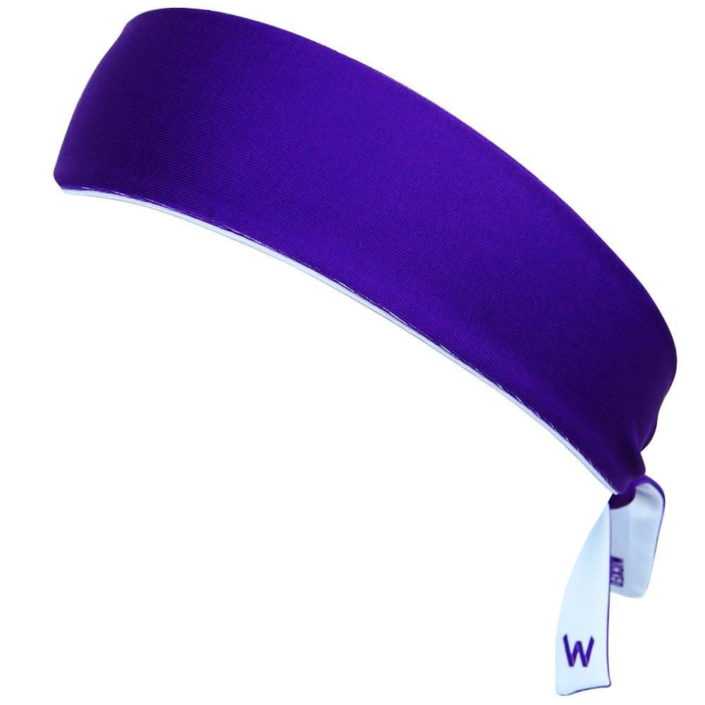 Purple and White Elastic Tie 2.25 Inch Headband in Purple by Wicked Headbands