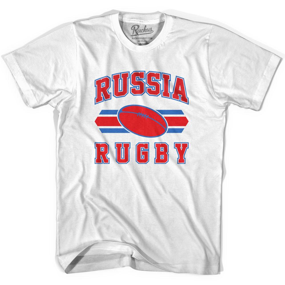 Russia 90's Rugby Ball T-shirt in White by Ruckus Rugby