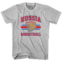 Russia 90's Basketball T-shirts in Grey Heather by Billy Hoyle