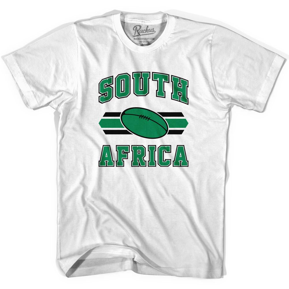 South Africa 90's Rugby Ball T-shirt in White by Ruckus Rugby