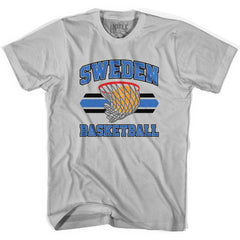 Sweden 90's Basketball T-shirts in Grey Heather by Billy Hoyle