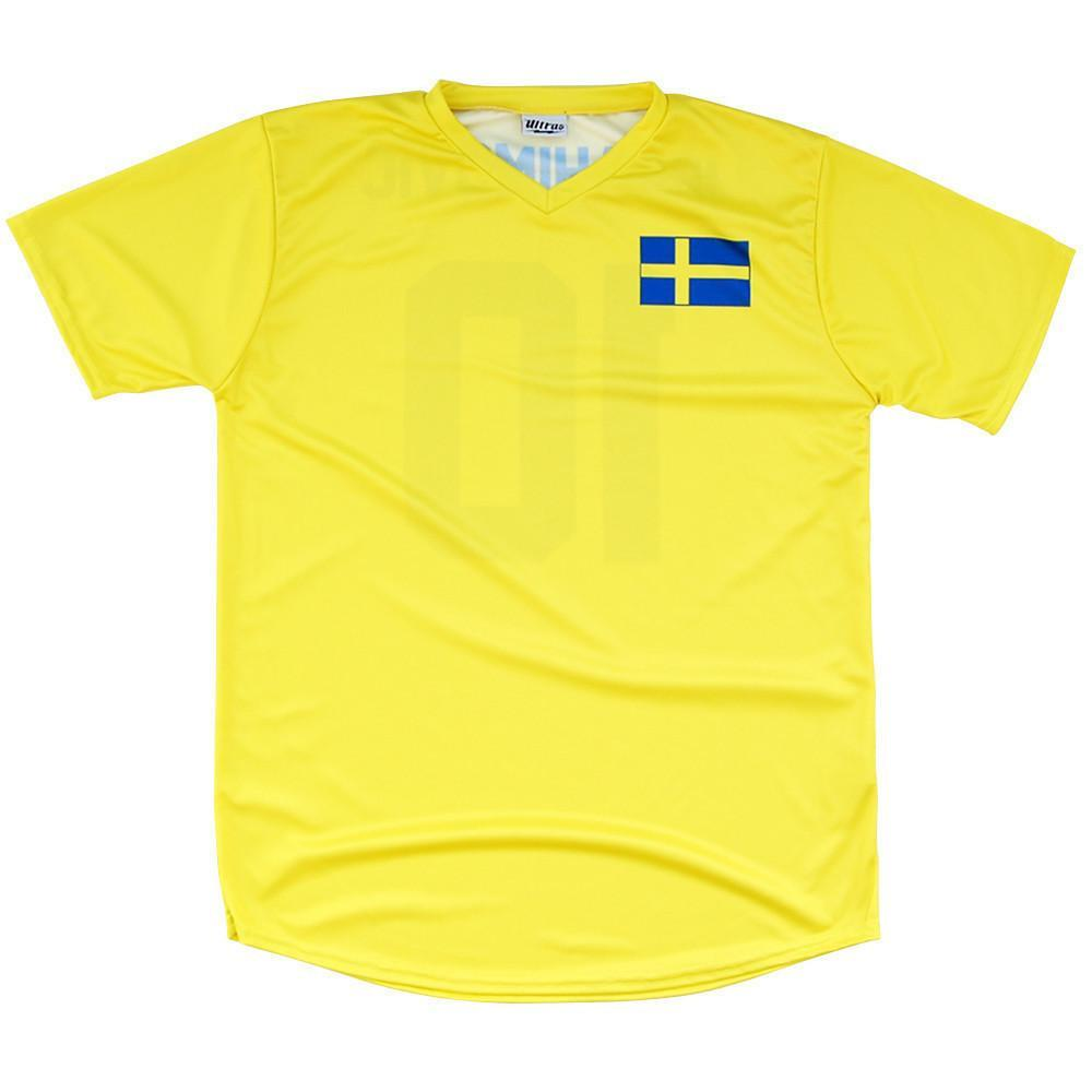 Sweden Ibrahimovic #10 Soccer Flag Jersey in Yellow by Ultras