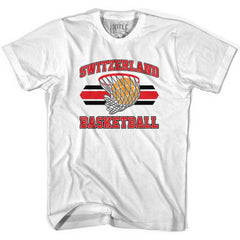 Switzerland 90's Basketball T-shirts in Grey Heather by Billy Hoyle
