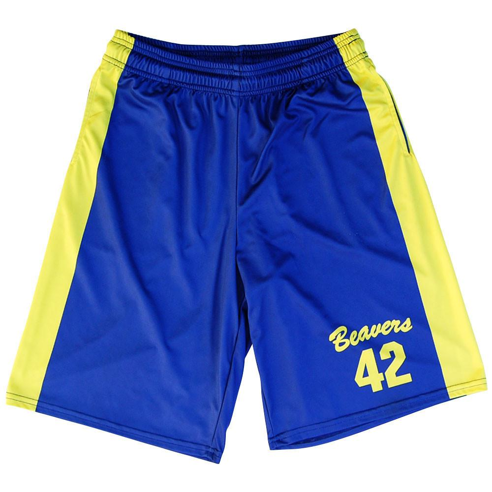 Teen Wolf Beavers Basketball Shorts in Royal and Yellow by Billy Hoyle