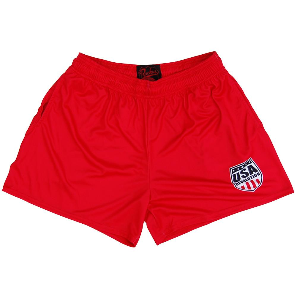 USA Revolution Red Shorts in Red by RUCKUS RUGBY