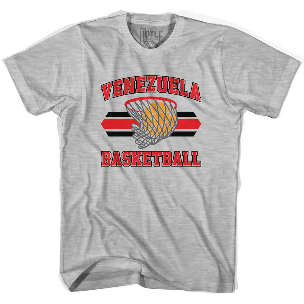 Venezuela 90's Basketball T-shirts in Grey Heather by Billy Hoyle