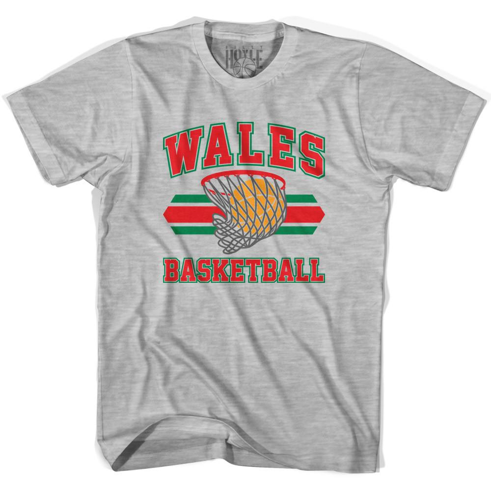 Wales 90's Basketball T-shirts in Grey Heather by Billy Hoyle