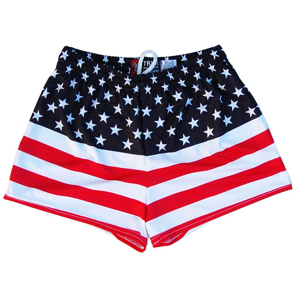 American Flag 50 - 50 Flag Womens & Girls Sport Shorts by Mile End in Red White and Blue by Mile End Sportswear