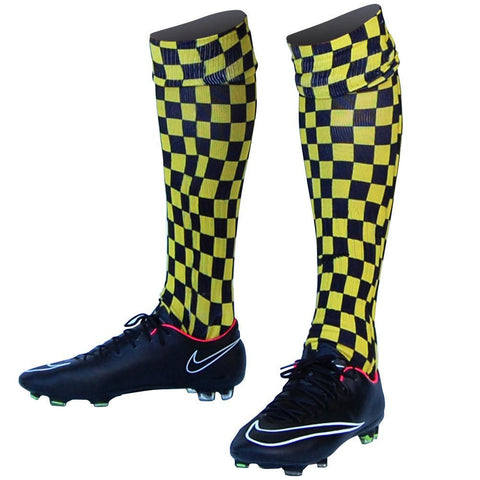 Checkerboards Yellow and Black Custom Sublimated Nike Soccer Socks