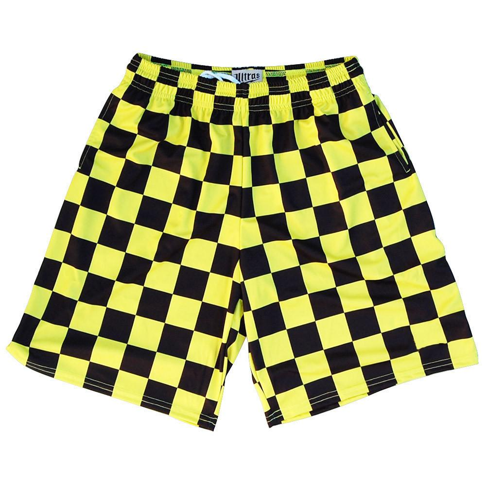 Checkerboard Yellow and Black Lacrosse Shorts in Yellow and Black by Tribe Lacrosse