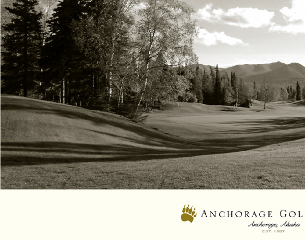 Anchorage Hole No. 9 Sepia Golf Print