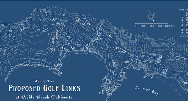 Map Of Proposed Golf Links At Pebble Beach Calif Print