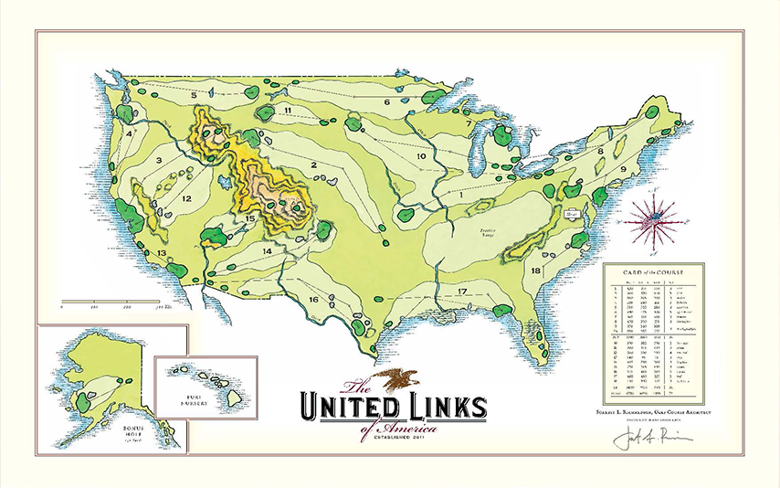 United Links of America Golf Print