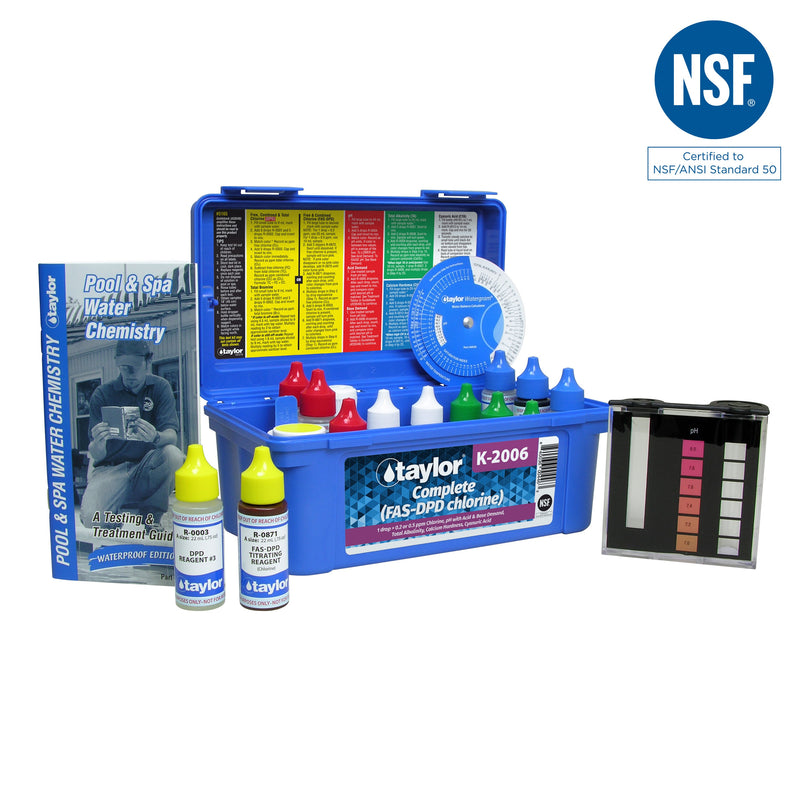 K-2006 Complete kit for Chlorine, pH, Alkalinity, Hardness, CYA (FAS-DPD–high range) (.75 oz bottles)
