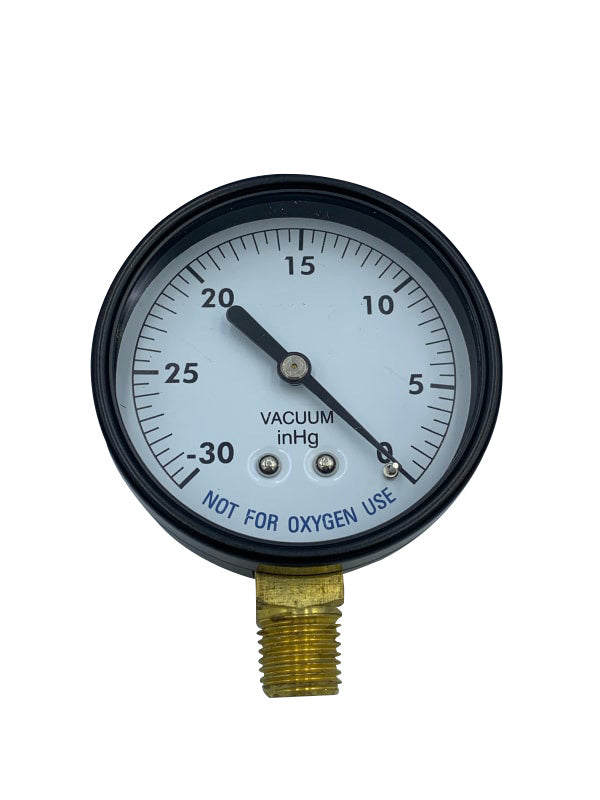 "2.5"" 0-30""HG 0.25"" BTM MOUNT STEEL VACUUM GAUGE (SPG-06-1009) - Vacuum Gauge - SUPER-PRO - The Pool Supply Warehouse"
