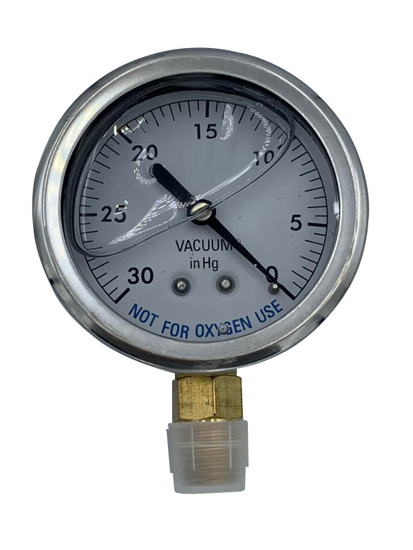 "2.5"" 0-30""HG .25"" BTM MOUNT LIQUID FILLED VAC GAUGE - Vacuum Gauge - SUPER-PRO - The Pool Supply Warehouse"