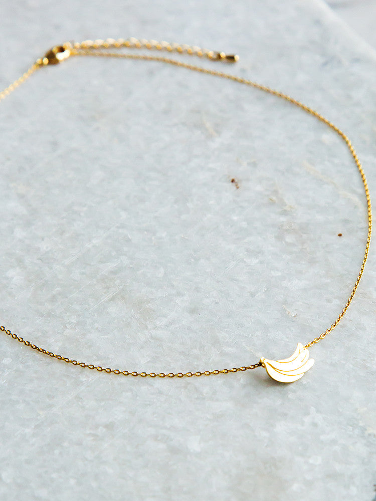 Gold Banana Pendant Necklace