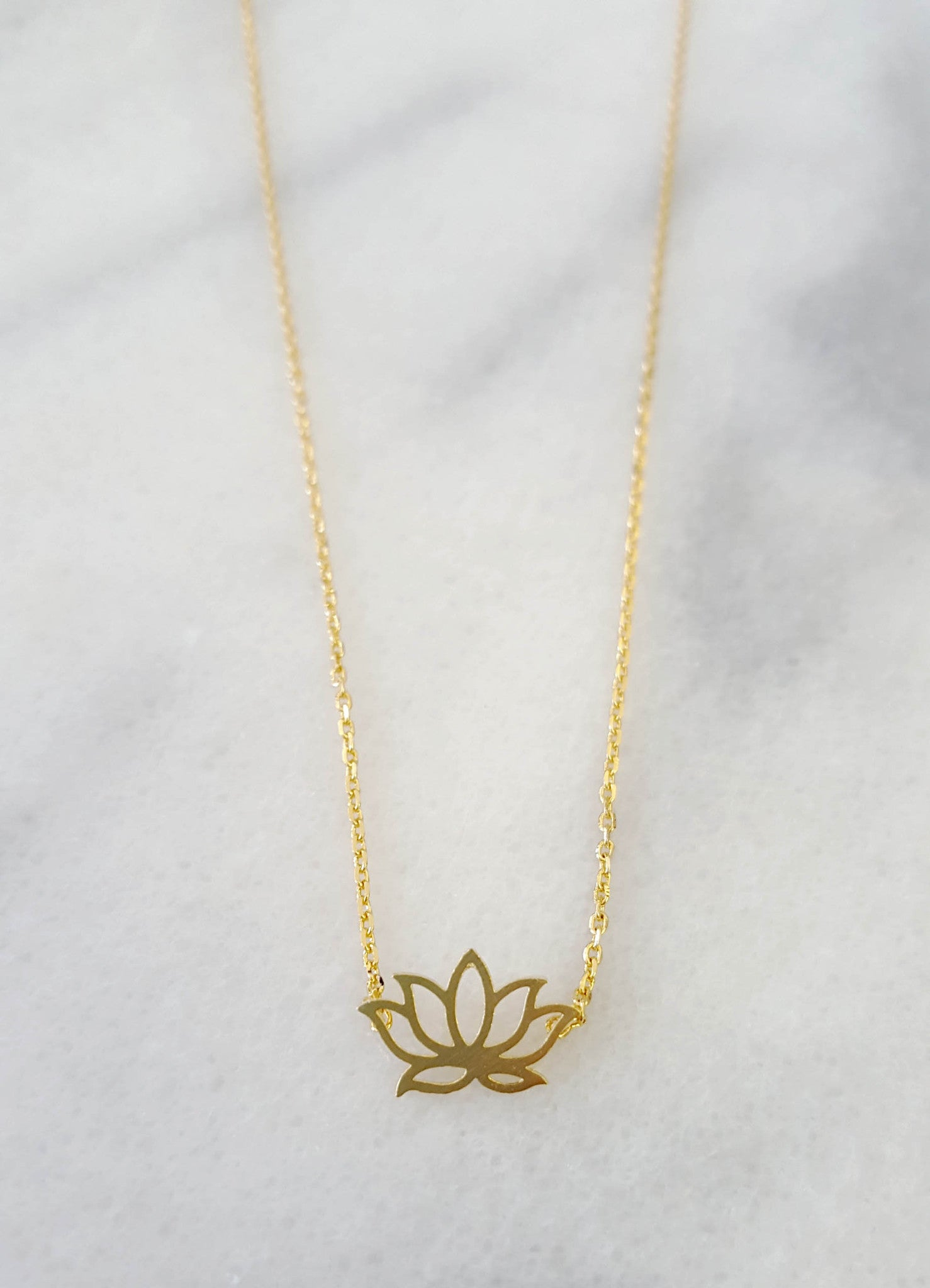 Gold Lotus Flower Necklace Lyla Loves