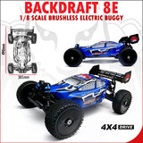 Redcat Racing Backdraft 8E Buggy 1/8 Scale Brushless Electric (With 2.4GHz Remote Control) from Redcat Racing available at RC Car PLUS - 6