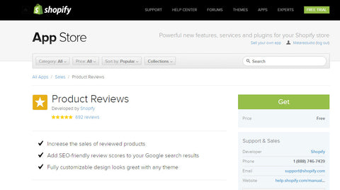 Shopify Product review install 0