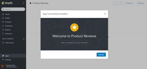 Shopify Product review install 2