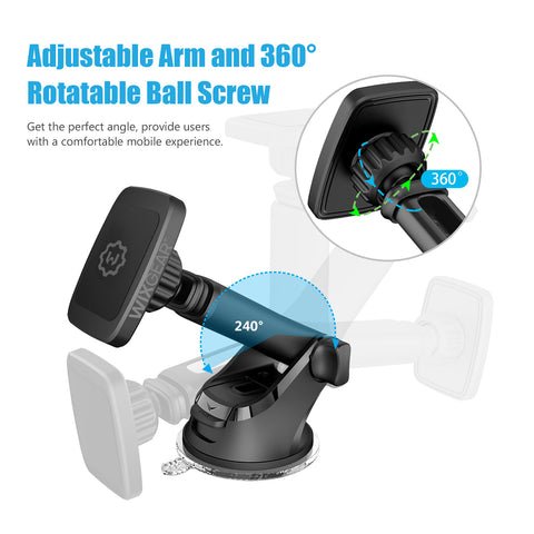 WixGear Universal Magnetic Car Mount Holder, Windshield Mount and Dashboard Mount Holder for Cell Phones and Tablets with Long Arm – (New Version Telescopic Arm)