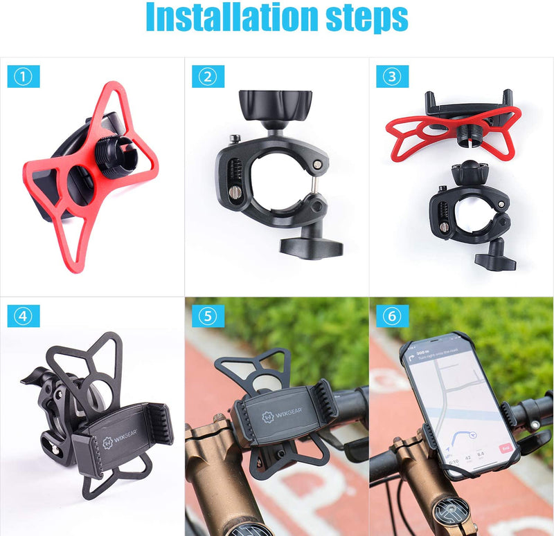 Bike Phone Mount, WixGear Universal Bike Phone Holder and Motorcycle Phone Mount, Phone Holder for Bike Handlebars Adjustable Grip Holder, Fits All Smartphones, Bike Accessories