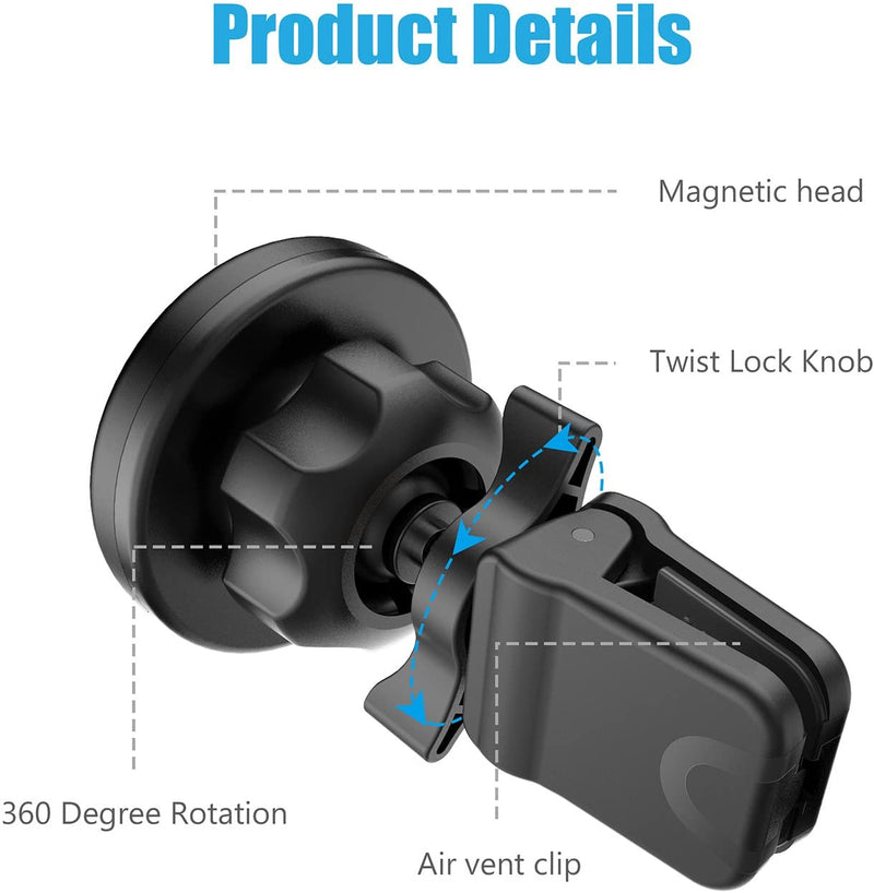WixGear Universal Twist-lock Mount Air vent Magnetic Car Mount Holder, for Cell Phones and Mini Tablets with Fast Swift-snap Technology