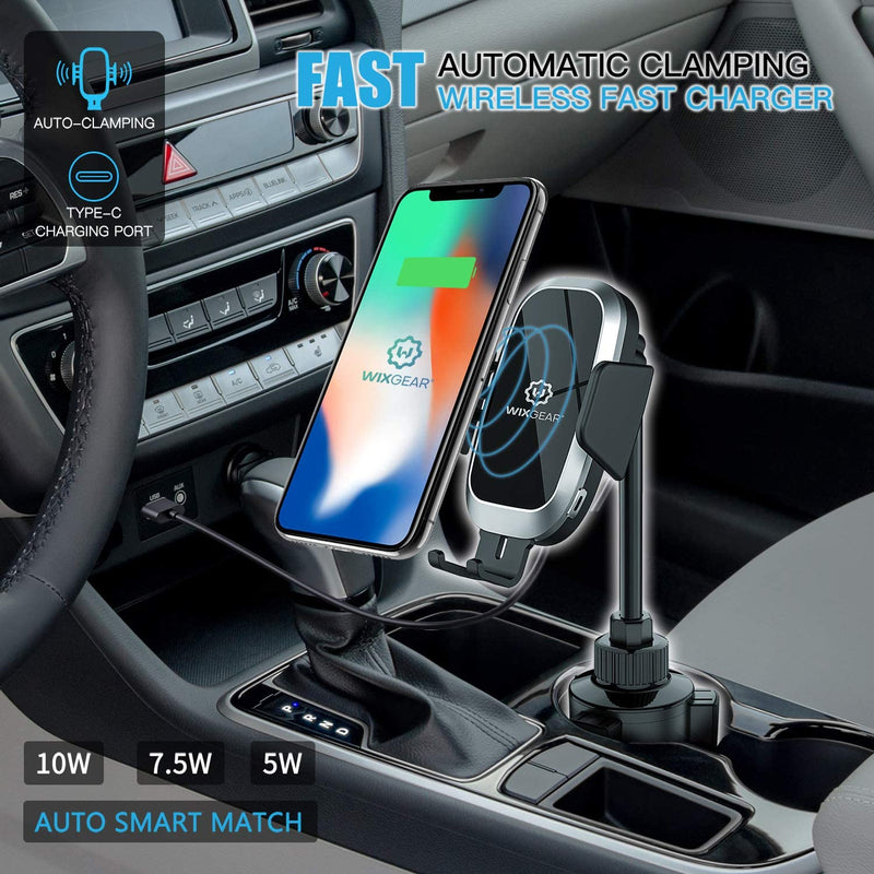 Wireless Car Charger, WixGear Auto-Clamping Fast Wireless Car Charger, Cup Phone Holder for Car, 10W Qi Fast Charging Compatible iPhone 11, Xs/MAX/XS/XR/X/8/, Samsung S10/S9/S8 Full Automatic Arms