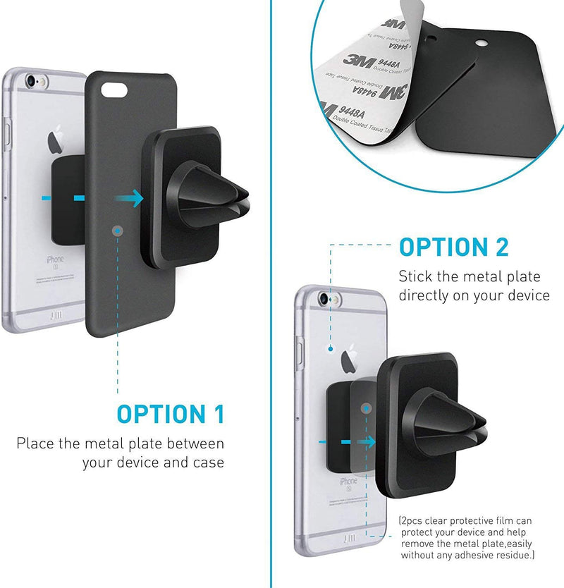Magnetic Mount, WizGear [2 Pack] Universal Air Vent Magnetic Phone Holder for Car, for Cell Phones and Mini Tablets with Fast Swift-Snap Technology, [New Rectangle Design]