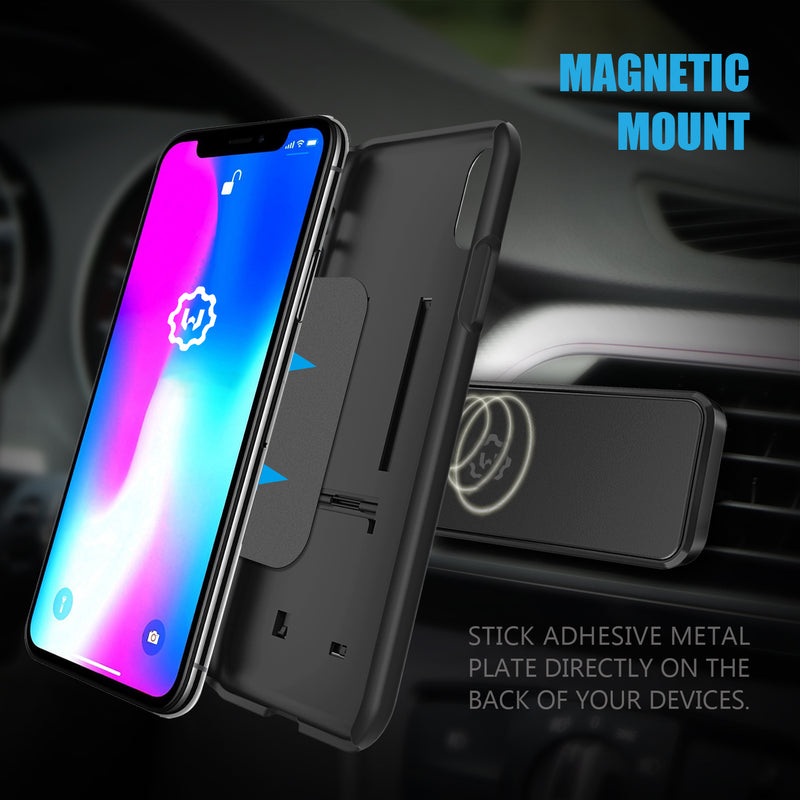 WixGear Universal Air Vent Magnetic Phone Holder for Car, for Cell Phones and Mini Tablets,with Double Prongs and Extra Strong with 8 Magnets for Big Phones