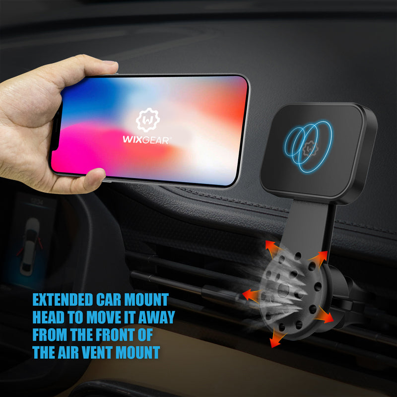 Magnetic Mount, WixGear Universal Air Vent Twist Hole Magnetic Phone Holder for Car, for All Cell Phones with Fast Swift-Snap Technology, Will Not Block Air Vent Flow - for Horizontal Vent