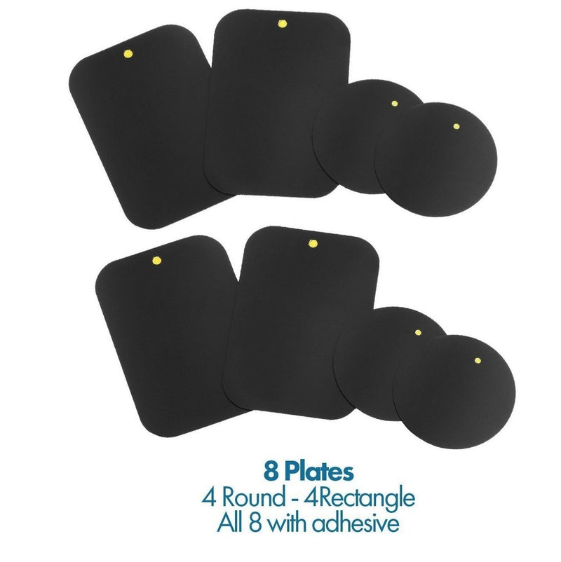 WizGear Mount Metal Plate (8 Pack) with Adhesive for Magnetic Cradle-less Mount - 4 Rectangle and 4 Round (Compatible with Magnetic mounts) (8 Pack - Black)