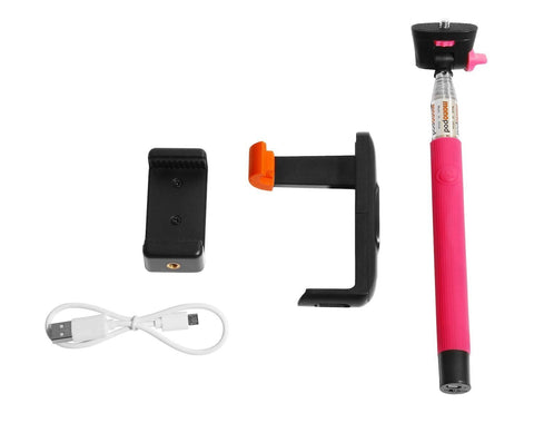 Wizgear 3-In-1 Self-portrait Monopod Extendable Wireless Bluetooth Selfie Stick with built-in Bluetooth Remote Shutter With Adjustable Phone Holders included - With Free bonus phone adapter