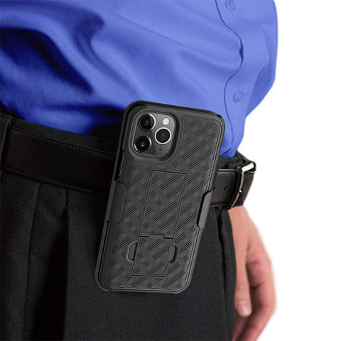 WixGear iPhone 11 Pro Max Holster, Shell Holster Combo Case for Apple iPhone 11 Pro Max with Kick-Stand and Belt Clip
